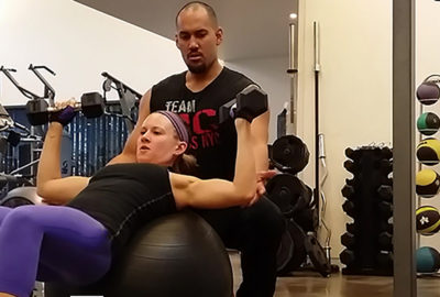 Chest Press on Exercise Ball
